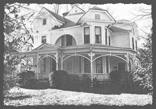 Black and white image of house in historic district